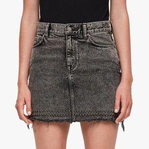 AllSaints Betty studded hem denim skirt size 4